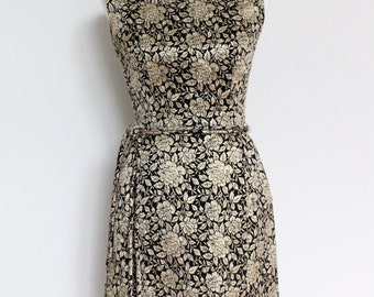 Vintage Dress Gold Black Brocade Wiggle Dress // 1960s Metallic Evening Dress Small