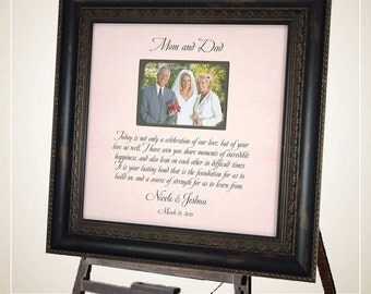 Wedding Frame Parents Gift MOM & DAD, Mother of the Bride Father of the Bride Personalized Picture Frame 16 X 16