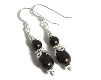 Dark Brown Swarovski Pearl Teardrop Earrings, Pearl Earrings, Pearl Teardrop Earrings, Brown Pearl Earrings, Sterling Silver