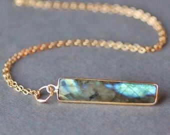 STUNNING Labradorite Gemstone Bar Necklace,Vertical Bar Necklace,Gold Filled Gemstone Pendant Necklace,Minimalist,Layering,Flashing Blue