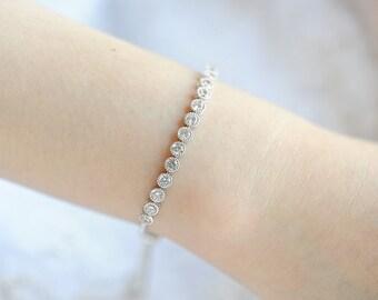 Bridal Bracelet, Rose Gold Wedding Bracelet, Gold Bridesmaid Bracelet, Simple Round Crystal Bangle Bracelet, Wedding Bridal Jewelry, SHANNON