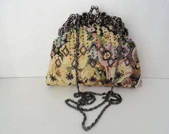 Vintage Yellow Tapestry Evening Purse|Yellow Evening Chain Purse| Tapestry Beaded Clutch Bag|Antique Marcasite Frame Yellow Tapestry Bag