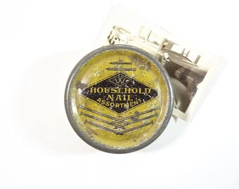 Vintage Industrial Advertising Tin / Household Nail Assortment Tin Can / Industrial Decor
