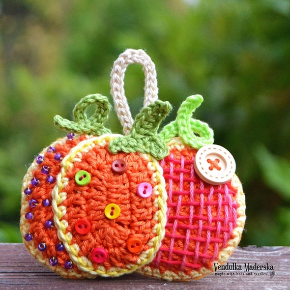 Crochet pumpkin decoration/ ornament/ hanger - crochet pattern by VendulkaM, DIY/pdf