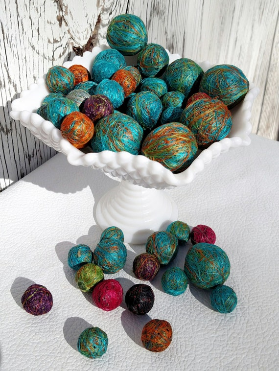 Agave Fiber Beads made in Colombia - Lot of 56 beads