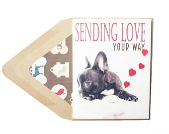 Sending Love Your Way  - Valentines Card, Love, Frenchie, French Bulldog, Dog, Animal, Pet, Photography