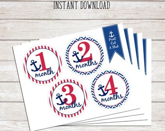 Monthly Stickers - 0 to 12 Month Circles - Nautical Baby - Red, White and Blue