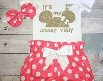 Baby 1st Disney Visit Outfit, Minnie Mouse Onesie, Knot Bow Headband, Complete Baby Set, First Minnie Onesie, Mouse Ears, 1st Disney Trip