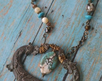 Upcycled drawer handle necklace, repurposed, turquoise, rustic, gypsy, festival jewelry, one of a kind