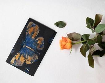 Art greeting card - Golden butterfly - Black night, royal blue, dark blue, bronze - handmade blank greeting card - original painting - OOAK