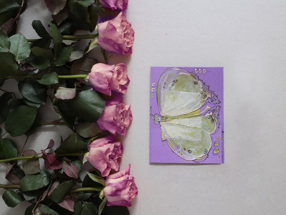 Lime green butterfly on lilac - handmade blank greeting card for any event - art, original painting, lavender, mint green silver insect OOAK
