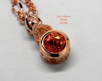 2.5cts Brazilian mystic topaz rose gold pendant