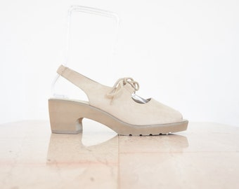 90s Minimal Beige Suede Platform Slingback Sandals / Women's Shoes Size 10 US - 40/41 Eur - 8 UK