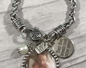 New Mommy BRACELET. Photo Jewelry. PHOTO KEEPSAKE. Mommy of Twins Gift. New Mommy Gift. Grandma Gift. Your First Breath took mine away.