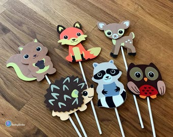 Woodland Animal Shapes - Cake Toppers or Party Decorations squirrel fox deer raccoon owl hedgehog baby shower birthday party wood lands