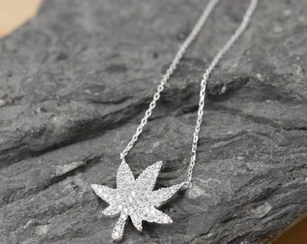 Marijuana Necklace, Marijuana Pendant, 925 Sterling Silver, Crystal Necklace Pendant, Bridesmaid Gift, Bridesmaid Necklace