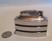 Ronson Spartan Lighter, Vintage Art Deco Tobacciana Table Top Cigarette Cigar Silver and Black Rare Horizontal Stripes Mid Century Decor