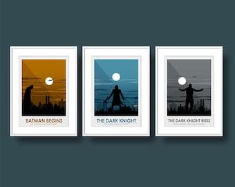Poster Art Print Batman Joker & Bane Poster Print set- The Dark Knight Trilogy - Travel Poster Style Art Print - Batman Poster set