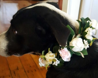 Dog flower crown, puppy flower collar.  Flower garland for dogs. Pink and cream roses, berries and foliage.  Wedding dog, pet photo shoot