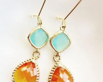 Mint Orange Drop Earrings Bridesmaid Gifts Summer Jewelry Earrings Dangle Earrings Jewelry Bridesmaid Set Limon Bijoux