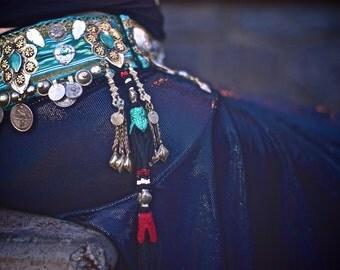 "RESERVED-------- Tribal Fusion Belt- 37""-44"" Adjustable Seamless Green Ikat Uzbek and Heavy Tribal Bellydance Belt"