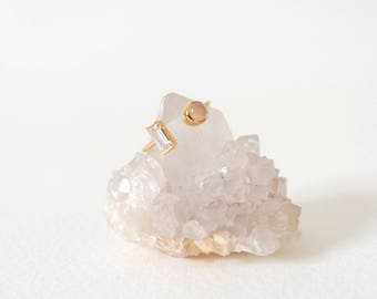 Ashley - Stacking Ring in Pink Chalcedony on Gold, Adjustable Ring, Gifts for her