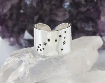 Pisces Star Sign Zodiac Constellation Ring. Zodiac jewelry. Pisces birthday gift. Zodiac ring. Sterling Silver or Aluminum Constellation RTS