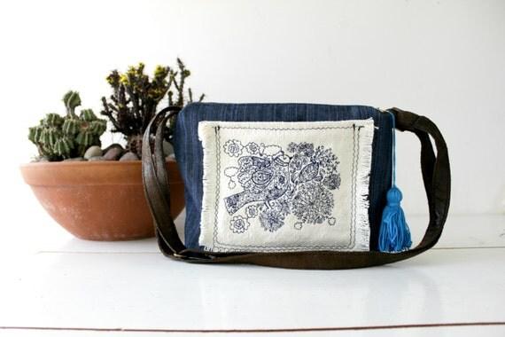 Crossbody bag.Embroidered bird & flowers Applique.Messenger bag.Navy denim and cotton canvas. Boho. Blue pom pom. Frayed edges. Womens gift.