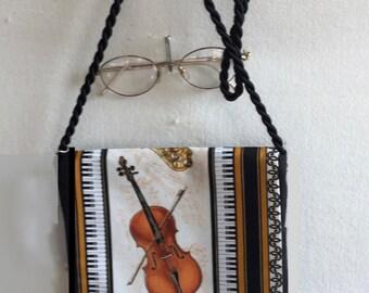 Musical Fabric Cello Small Purse Shoulder Hand Bag Evening Purse Clutch Bag
