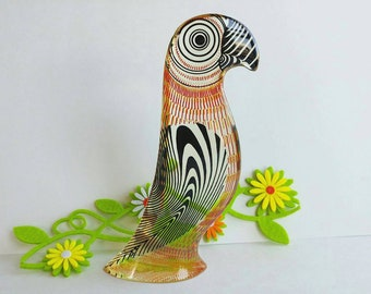 Authentic Signed Abraham Palatnik Lucite Parrot Sculpture Figurine- Funky Abstract Mid Century Acrylic Art Collectible Kinechromatic OFFERS