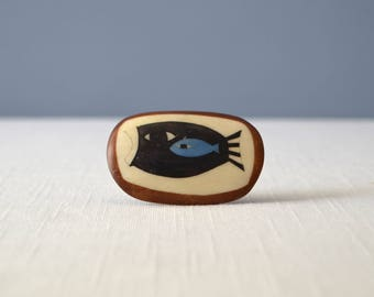 Vintage Primitive Wood and Inlaid Bone Brooch - Two Fish Design
