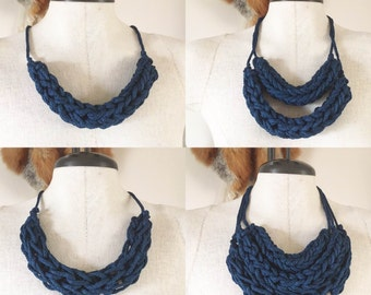 Midnight Blue Bulky Necklace Knit Wear