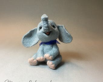Elephant, Baby Elephant, Gray Elephant, Toy, Needle Felted Sculpture, Custom Order Only by Marina Lubomirsky