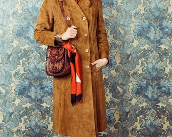 Suede leather coat, 70s leather trench coat, Brown suede coat, Rust 70s coat, Brown coat, Medium size coat, Autumn boho coat, 70s style