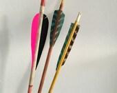trio of vintage wooden arrows. set of rustic painted neon camp arrows 1950s vintage archery. mid century interior design home decor archery