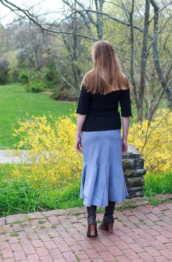 Mermaid Skirt, Long Organic Cotton Jersey Skirt, Fishtail Skirt, Handmade Eco Friendly Skirt