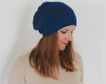 Slouchy hat, chunky hat, slouchy beanie, chunky beanie, women winter hat, blue hat, blue beanie, mens slouchy beanie, Clio, ready to ship