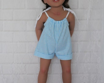 Blue Gingham Romper Doll Clothes to fit 18 inch dolls to 20 inch dolls such as American Girl & Australian Girl dolls