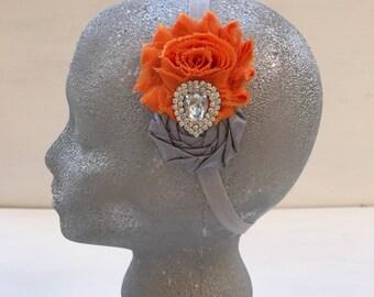 Orange and grey flowers headband~Elastic headband~Prop~Photo prop~Photography prop~Toddler headband~Gift~Orange~Grey~Hair accessory~