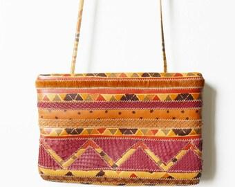 Tribal Aztec Vintage Boho Crossbody Purse / Caramel Brown Tribal Shoulder Bag /