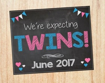 Twins Pregnancy Announcement sign PRINTABLE we're expecting twins chalkboard custom photo prop