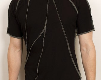 Post punk apocalyptic mens shirt with contrast stitching from black organic cotton