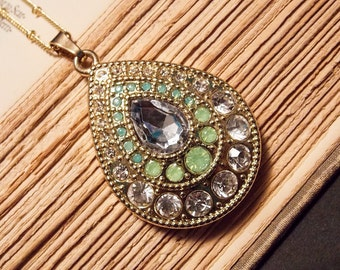 Green and Gold Teardrop Pendant