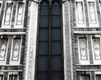 Florence Duomo Window  - Florence, Tuscany, Italy - Italian Cathedral Gothic Architecture Travel Photography Print