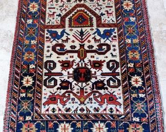 4 by 5 rug / Vintage Oushak Rug / Vintage Rug / Oushak Area Rug / Vintage Turkish Rug / Tribal Rug / Area Rug / Prayer Rug / Low Pile Rug
