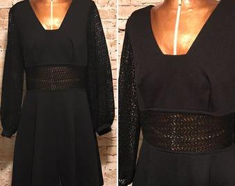 Vintage 1960s Black Mini Dress // 60s Mod Sheer Panel Dress // size small S