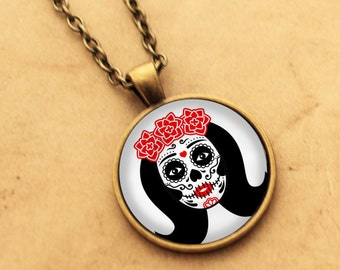 Sugar Skull Necklace - Catrina Pendant 1 Day of the Dead Rockabilly Pin-up Girl Cabochon Gothic Black Punk