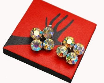 Rhinestone clip on earrings - Aurora Borealis AB crystal - Diamond design - Wedding Bride - Prom Bling