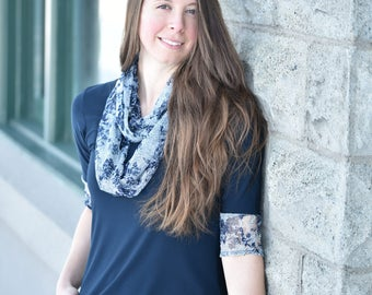 Infinity lace scarf, classical blue navy scarf