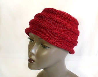 Hand Knit Beanie, Blood Red Heather Hat, Soft Beehive Hat, Roll Brim Hat, Chemo Hat, Handmade in the USA, Ready to Ship
